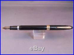 Sheaffer Black Snorkel Pen-Palladium Silver F-6- fine point nib-restored