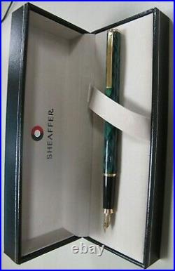 Sheaffer Fashion Fountain Pen Gloss Green & Gold Fine Point USA Made New In Box