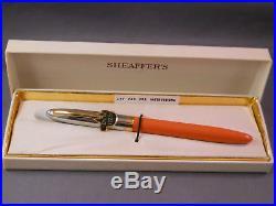 Sheaffer White Dot Sentinel Cap Snorkel-Mandarin Orange-working-fine point