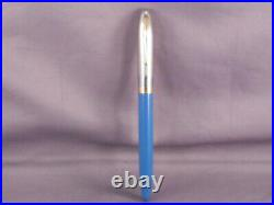 Sheaffer White Dot Vintage Blue Snorkel Pen-Sentinel Cap-working-fine point
