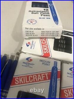 Skilcraft U. S. Government Retractable Ball Point Pen, Fine, Blue Ink, 8 Box of 12
