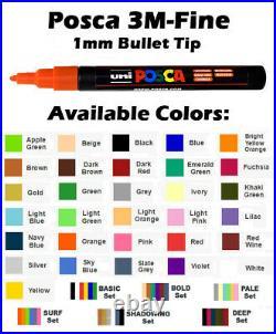 Uni Posca Paint Marker Pen, Size 3M Fine Point 24 Set With Free Carry Wallet