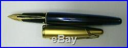 Waterman Edson Blue Gold Fountain Pen 18K Nib Orig Box Cartridges Ex Fine Point