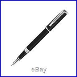 Waterman Exception Slim Black Silver Trim Fine Point Fountain Pen