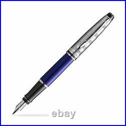 Waterman Expert Fountain Pen in Deluxe Blue with Chrome Cap Fine Point NEW