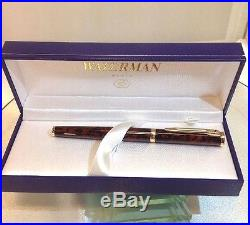 Waterman Preface Brown Marble GT Fountain Pen Fine Point 18K Gold Nib New NOS