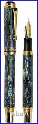Xezo Maestro Natural Abalone Sea Shell Fountain Pen, Fine Point. 18k Gold Plated
