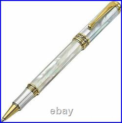 Xezo Maestro White Mother Of Pearl Rollerball Pen, Fine Point. 18k Gold Plated